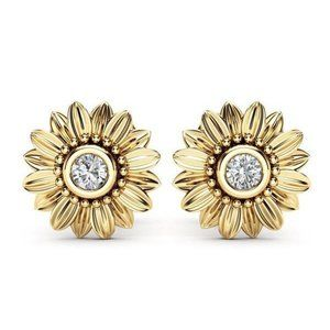 18K Yellow Gold Diamond Sunflower Stud Earrings